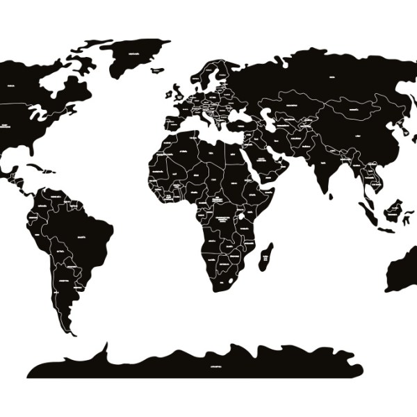 Czarna mapa polityczna świata Pastelowe Love