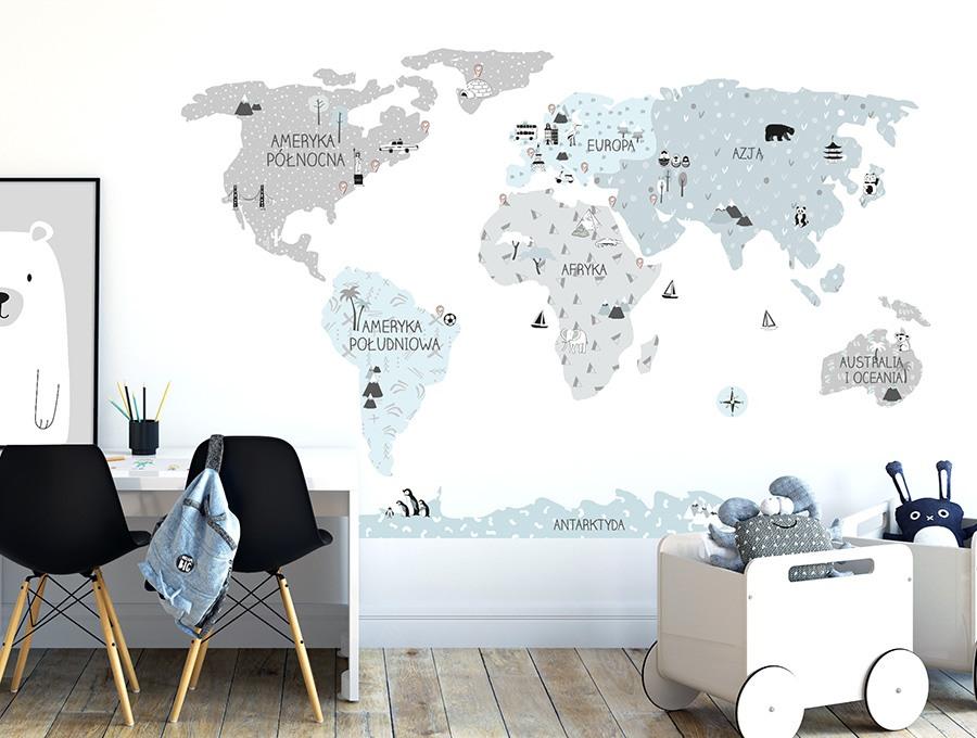 Eco mapa edukacyjna świata Pastelowe Love