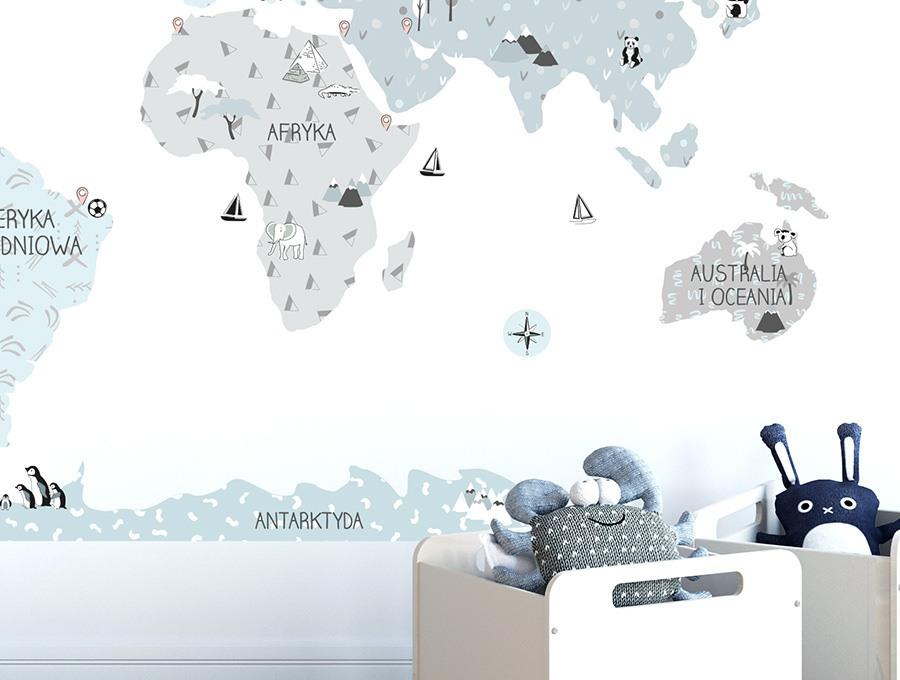 Eco mapa naklejka edukacyjna na ścianę Pastelowe Love