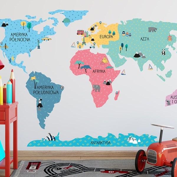 Mapa edukacyjna świata naklejka na ścianę kolorowa