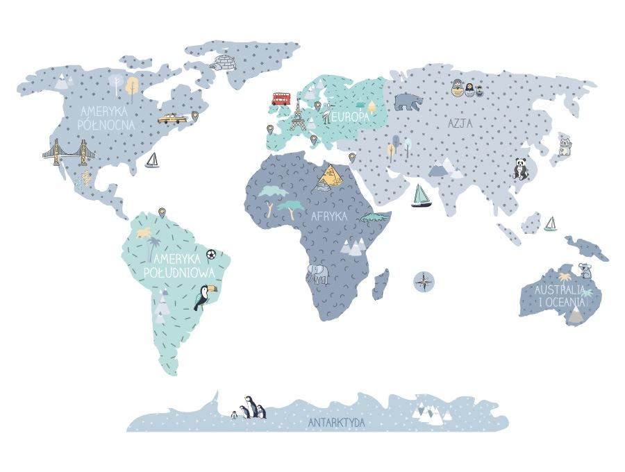 Mapa edukacyjna świata - naklejka na ścianę niebieski kolor