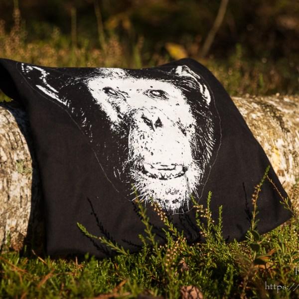 Męski czarny t-shirt z szympansem