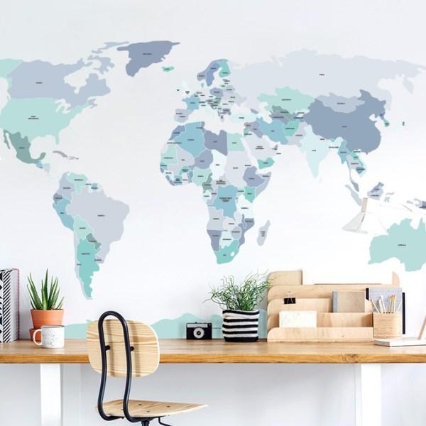 Niebieska mapa - naklejka na ścianę Pastelowe Love