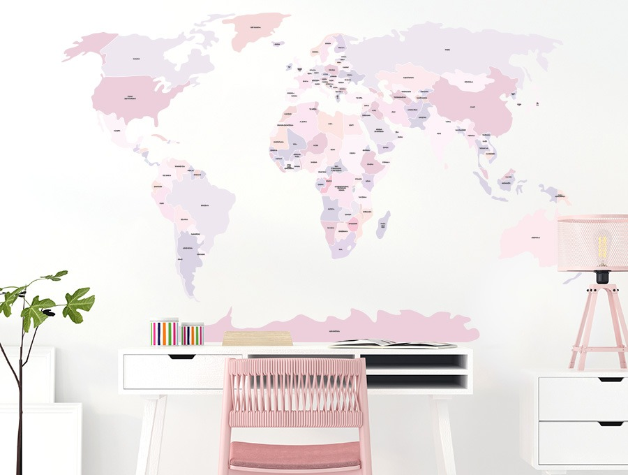 Różowa mapa naklejka na ścianę - Pastelowe Love