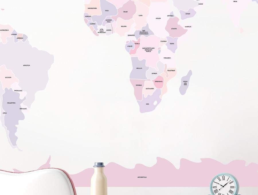 Różowa mapa polityczna świata Pastelowe Love