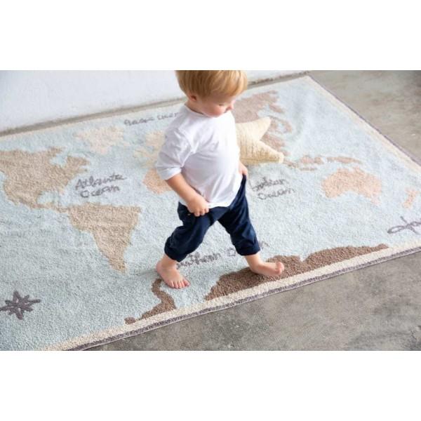 Dywan bawełniany World Map vintage - dywan z mapą świata