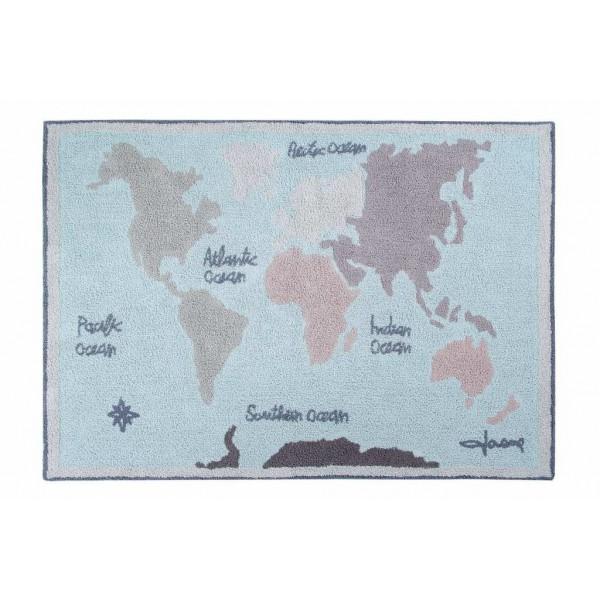 Dywan bawełniany World Map vintage