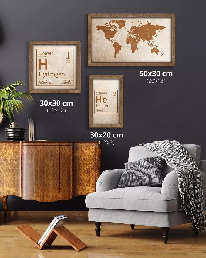 Drewniana mapa świata w dębowej ramie - dekoracja na ścianę - Sikorka Net