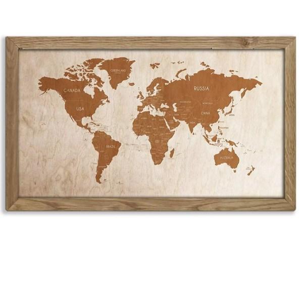 Drewniana mapa świata w dębowej ramie - dekoracja na ścianę w kolorze dąb