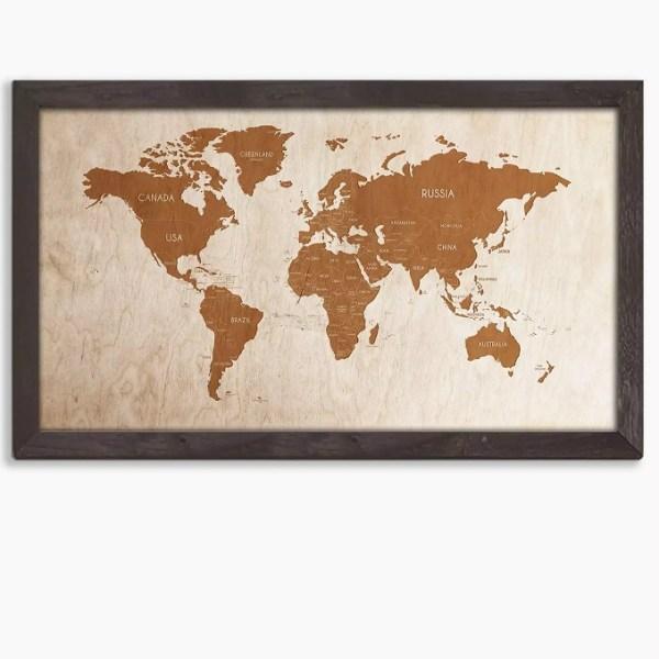 Drewniana mapa świata w dębowej ramie - dekoracja na ścianę w kolorze palisander