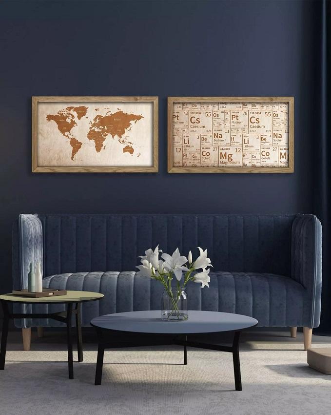 Drewniana mapa świata w dębowej ramie na ścianę