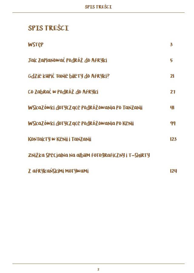 Poradnik przed podróżą do Afryki - spis treści w wersji pdf