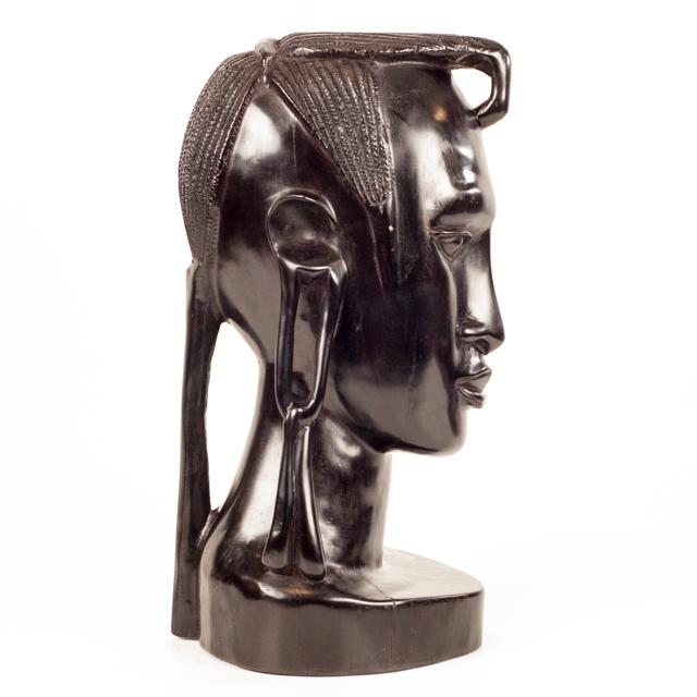 Rzeźba z hebanu - popiersie z drewna afrykańskiego z Tanzanii