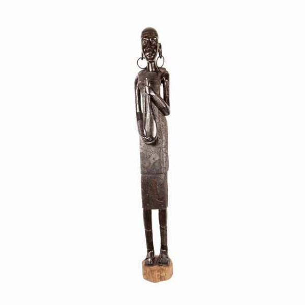Wielka hebanowa rzeźba kobiety z Afryki