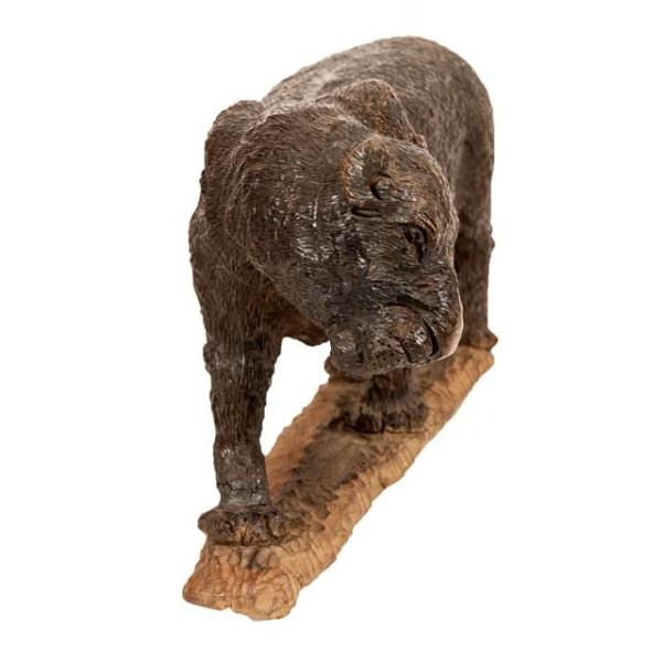 Duża figurka lamparta z drewna