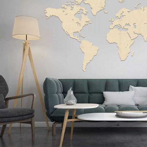 Drewniana mapa świata do salonu