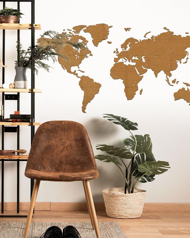 Drewniana mapa świata na ścianę - kolor orzech - bez granic