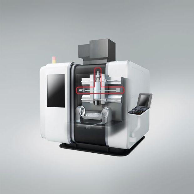 1) Postęp w zakresie technologii śrub kulowych NSK, których położenie zaznaczono na rysunku czerwonym konturem, zapewnia wysoką dokładność działania obrabiarek.