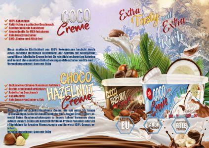 Kókusz és Csoki Mogyoró krém katalóg oldal design