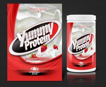 Peak Active Protein Strawberry Yoghurt csomagolás design