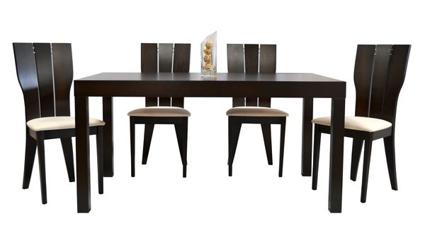 Sigma/Ricky étkező garnitúra (1 asztal   4 szék) wenge, beige szövet