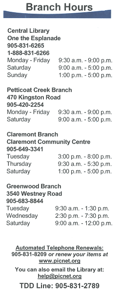 BRANCH HOURS