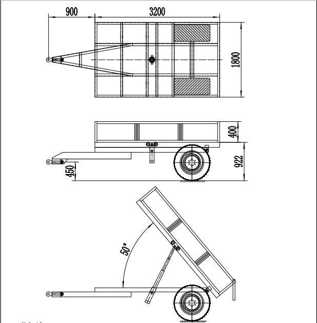 2 Tons 3 Tons 5 Tons Single Axle 2 Wheel Farm Tractor Dump