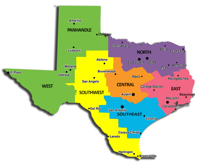 Image Map Of The United States With Texas Highlightedpng Truck - Us map separated by region