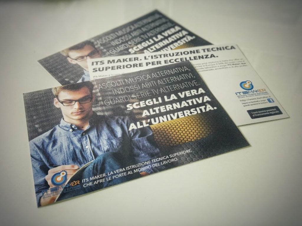 Materiali di comunicazione Flyer per ITS MAKER a cura di TERRA di Diego Fontana