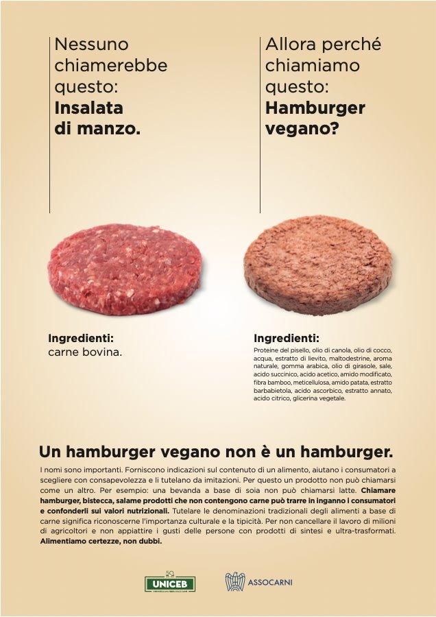 Pagina stampa nazionale per Assocarni sull'hamburger vegano