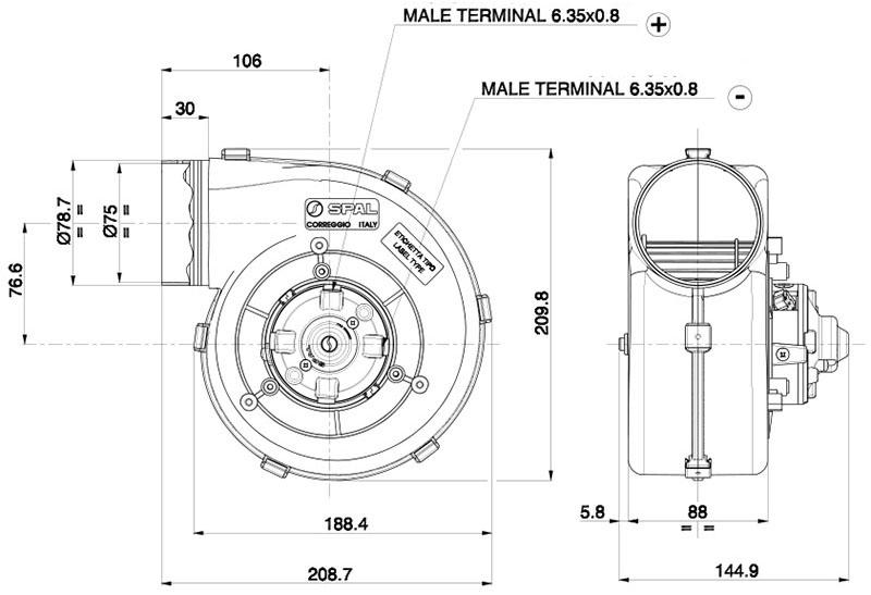 Centrifugal Heater Blower 001-A39-49D Ventilation T7Design Ltd