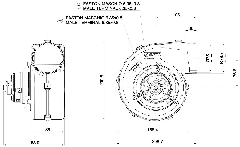 001-A53-03S SPAL Centrifugal Blower 260cfm
