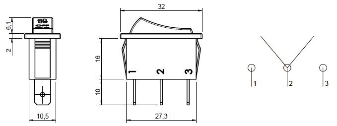 3 Position Rocker Switch ON/OFF/ON, for fan, heater