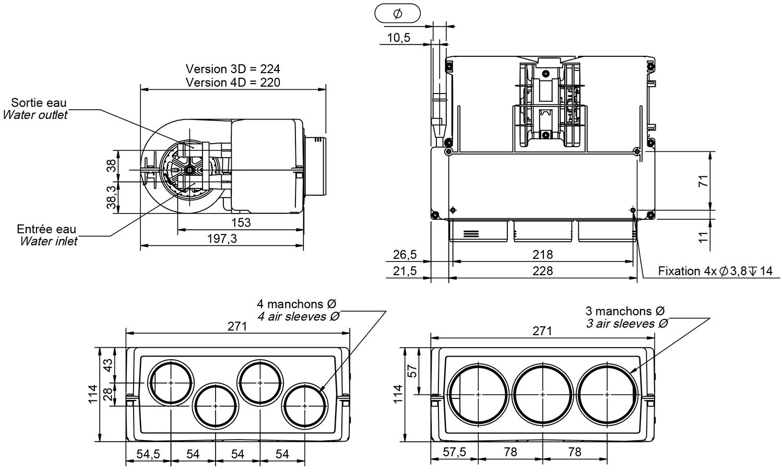4 5kw Compact Cab Heater 3x 70mm 24v Siroco