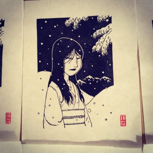 Yuki Onna. Impression au baren sur papier washi.