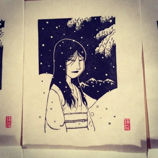Yuki Onna. Impression au baren sur papier washi. 17 ex.