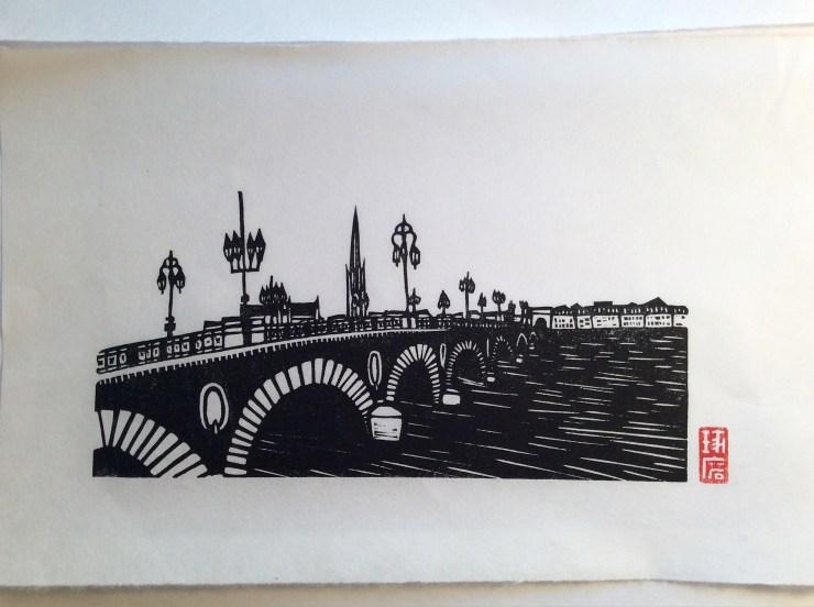 Le pont de pierre. Impression au baren sur papier washi.