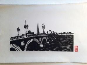 Le pont de pierre. Impression au baren sur papier washi. 20ex.