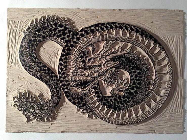 Dragon gravé
