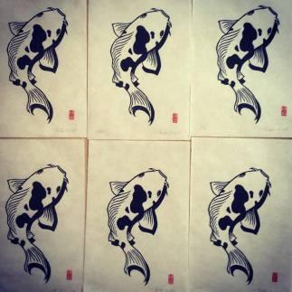 Carpe koï. Impression au baren sur papier washi. 25 ex.