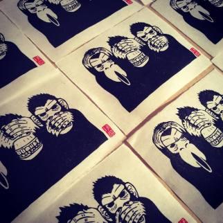 Les trois singes de la sagesse. Impression au baren sur papier washi. 50 ex.