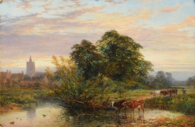 """Summer Landscape with a Drover and Cattle crossing a River"" van John Syer en Heywood Hardy (1864)"