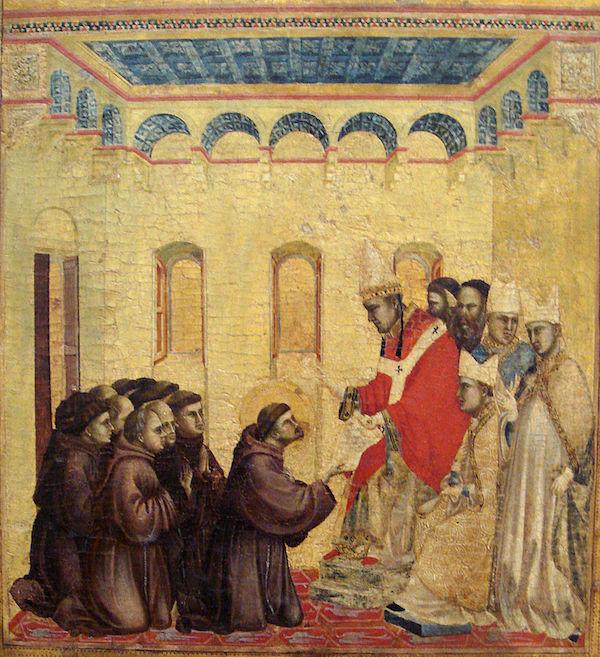 De Paus keurt de statuten van de Orde der Franciscanen goed (Giotto, 1295–1300)