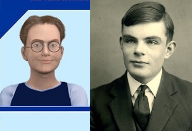 Eugene Goostman (zogenaamd 13 jaar) en Alan Turing op 16-jarige leeftijd