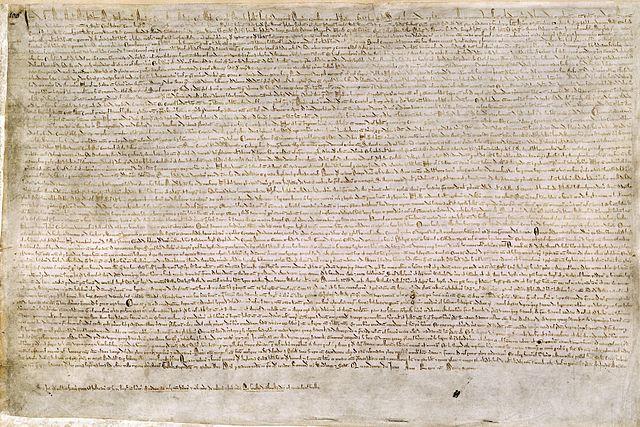 Een exemplaar van de originele Magna Carta