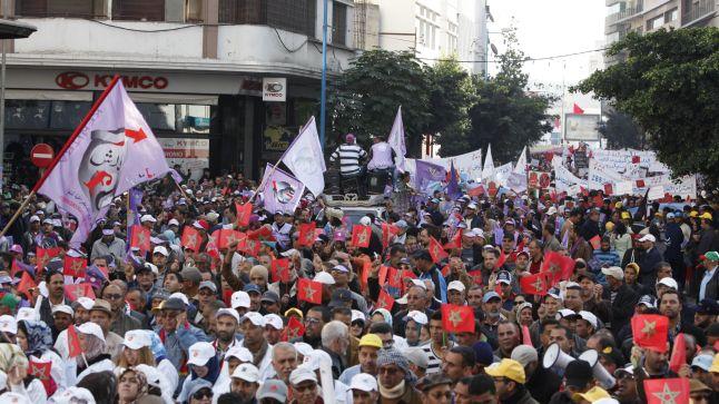 المركزيات النقابية تدعو إلى مسيرة وطنية الأحد 10 أبريل الجاري