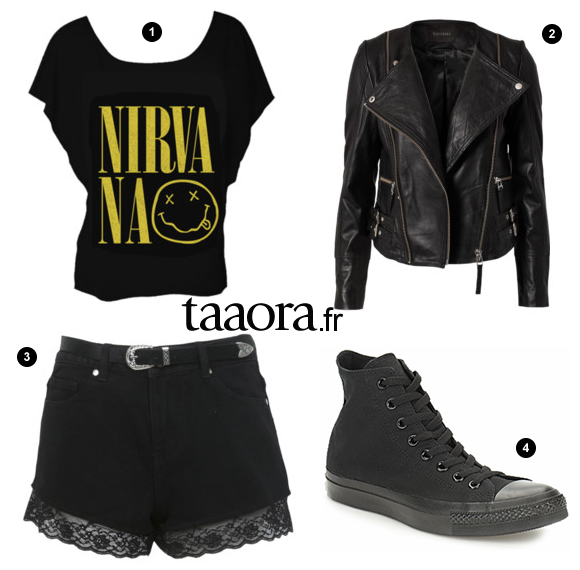 Look Rock Avec Un Short Noir Dentelle Taaora Blog Mode Tendances Looks