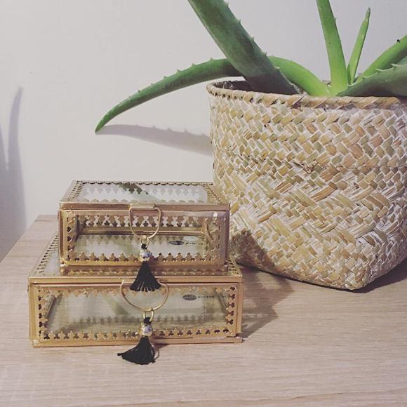 boites a bijoux en verre et metal dore