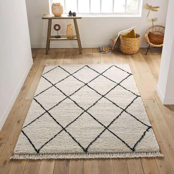 tapis berbere blanc noir la redoute