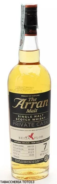 Whisky the Arran private cask Beija Flor 7 years old, peated bourbon barrel.